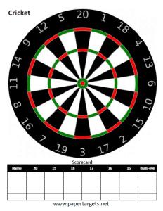 Fun Games Shooting Targets Cricket Dart Board